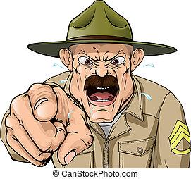 acampamento, botina, sargento, broca