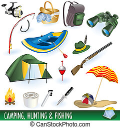 acampamento, caça, pesca