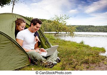 acampamento, computador
