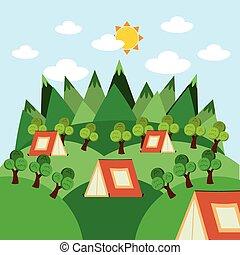 acampamento, conceito