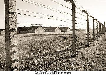 acampamento concentração, em, polônia