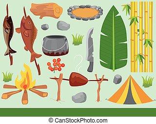 acampamento, elementos, floresta, ilustração