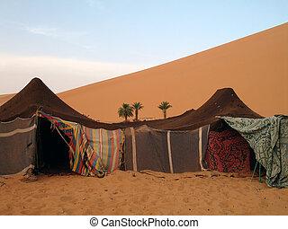 acampamento, em, a, marroquino, deserto