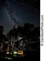 acampamento, estrelas, sob