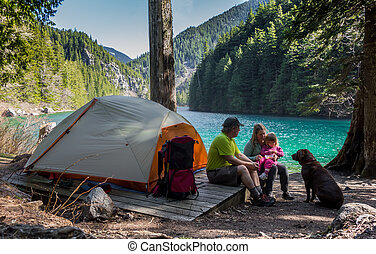 acampamento, família, selva