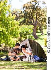 acampamento familiar, parque