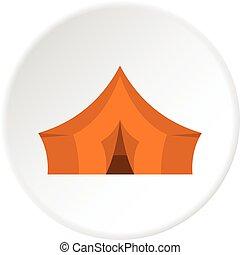 acampamento, floresta, círculo alaranjado, barraca, ícone