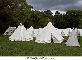acampamento, guerra, barracas