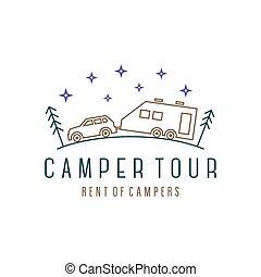 acampamento, ilustração, pinhos, noturna, campista, madeiras...