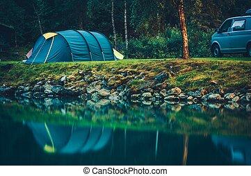 acampamento, ligado, a, glaciar, lago