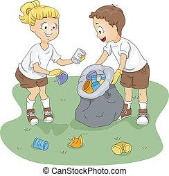 acampamento, limpeza