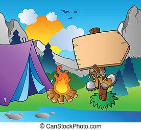 acampamento, madeira, sinal, ligado, costa lago