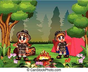 acampamento, meninas, equipamento, meninos, fogueria, barraca