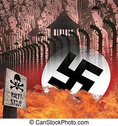 acampamento, polônia, auschwitz, -, holocausto, concentração...