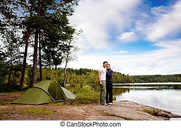 acampamento, por, lago