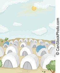 acampamento refugiado, branca, barracas