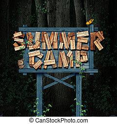 acampamento verão, natureza, sinal
