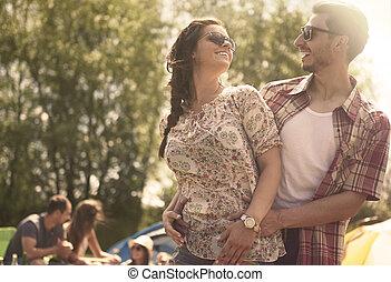 acampamento verão, romanticos, dia