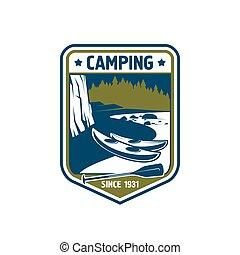 acampamento, vetorial, esporte aventura, emblema, ícone