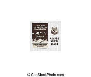 acampamento, vetorial, folheto, e, label., a, conceito, de,...