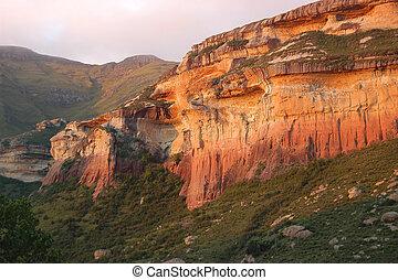 acantilados, arenisca, amarillo rojo