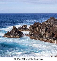 acantilados, orilla,  Lanzarote, áspero