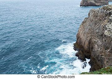 acantilados, por, santo vincent, capa, (portugal)