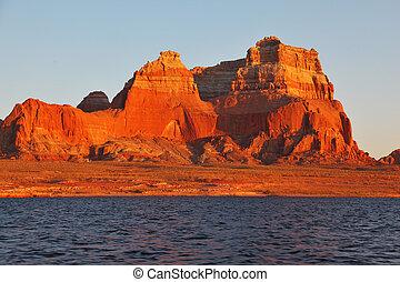 acantilados, rojo, arenisca, magnífico
