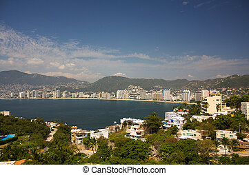acapulco 海灣, 海灘, 旅館, 太陽, 山, 樹, guerrero, 墨西哥