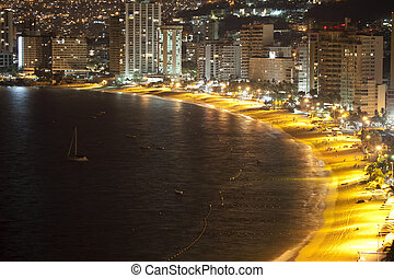 Acapulco bay Mexico - huge bay of hotels stretching along ...