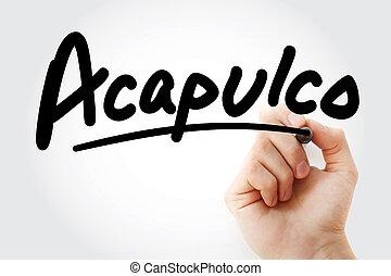 acapulco, pisanie, markier, ręka
