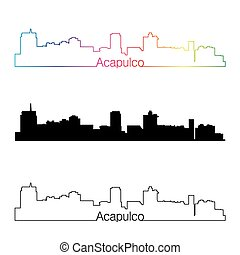 Acapulco skyline linear style with rainbow.eps