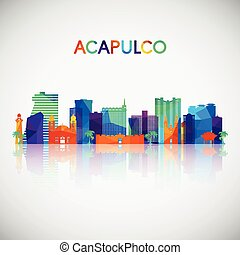 Acapulco skyline silhouette in colorful geometric style.