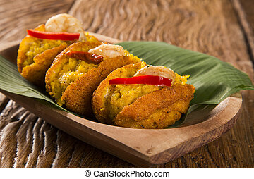 Acaraje - Traditional Brazilian fritters made with...