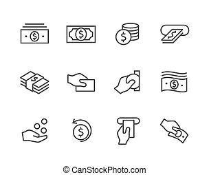 acariciado, dinheiro, ícones, set.