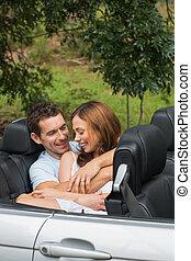 acaricie, par, cute, conversando, backseat