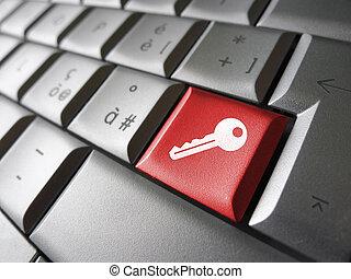 accès, concept, clef informatique