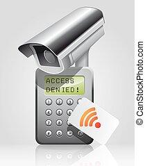 accès, contrôle, -, cctv