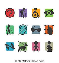 accès, ensemble, coloré, gens, physiquement, handicapé, vecteur, signes, icône