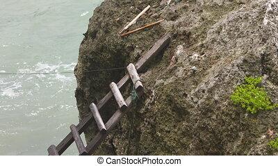 accès, fin, échelle, rocher, utilisé