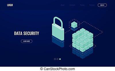 accès, isométrique, technologie, base données, blockchain, calculer, sombre, protection, nuage, serrure, icône, données, néon, sécurité