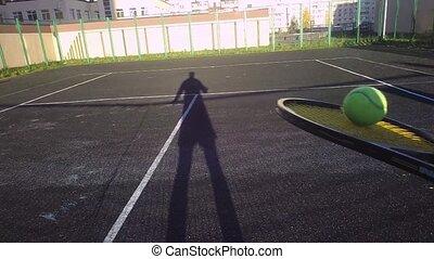 accès, joueur, tennis, débutant, ball., first-person, vue, jeux