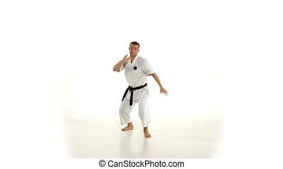 accès, lent, motion., karate., arrière-plan., kimono, pied, ...