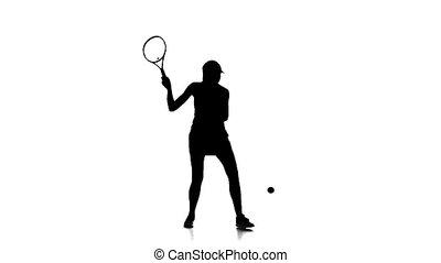 accès, lent, silhouette, joueur, tennis, motion., arrière-plan., balle, racket., utilisation, blanc