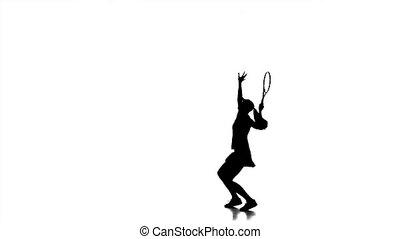accès, lent, tennis, rebondit, haut, silhouette., mouvement, racket., girl, jouer