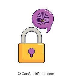 accès, sécurité, cyber, empreinte doigt