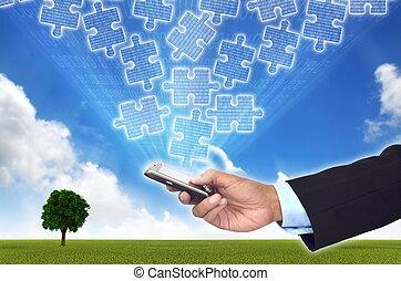 accéder, ramassage, téléphone., intelligent, morceaux, information, concept affaires