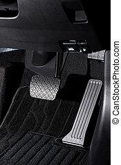 accélérateur, transmission, voiture, pédale frein, automatique