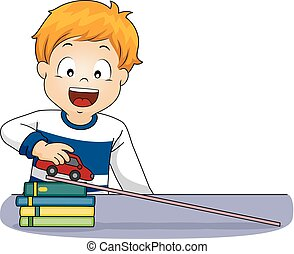 accélération, garçon, voiture, illustration, mouvement, gosse