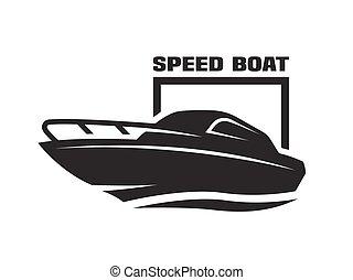 accélérez bateau, logo.